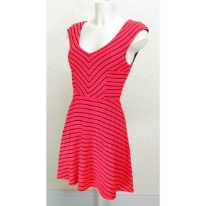 Monteau Red Black Striped Mini Flare Dress